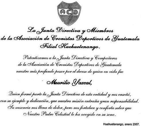 Nota de pésame, ACD, filial Huehuetenango
