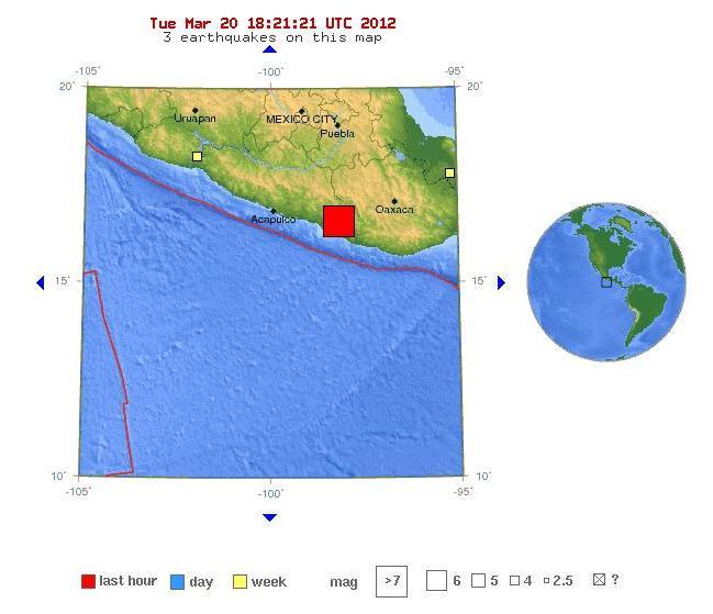 Terremoto de 7.6, en región Oaxaca, México, el martes, 20 de marzo de 2012 , 12:02.48 PM