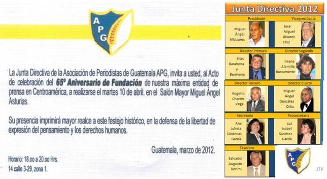 Asociación de Periodistas de Guatemala invitación -65 años con fotos JD 2012