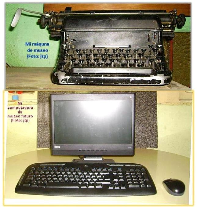 """Máquina de escribir mecánica, antigua, de museo (arriba) y teclado y mouse, """"brazo dercho"""" del 'CPU' (Fotos, jtp)."""