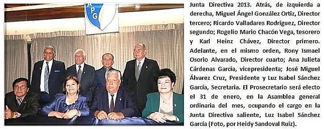 Junta Directiva 2013 de la  APG.