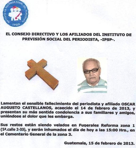 IPSP- Esquela. Óscar Augusto Castellanos