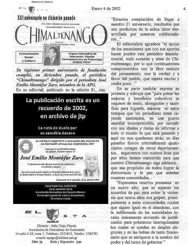 Falece José Emilio Montúfar Zaro -Chimaltenango -periódico XXI años 2002-enero 4 - -afiliado 73