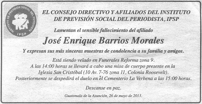 Esquela -PL-26-05-2013 José Enrique Barrios Morales - 92 - +25052013