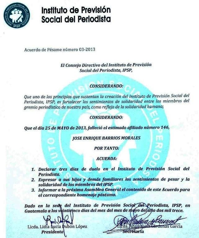 José Enriqued Barrios Morales -IPSP ACUERDO DE PÉSAME 25052013