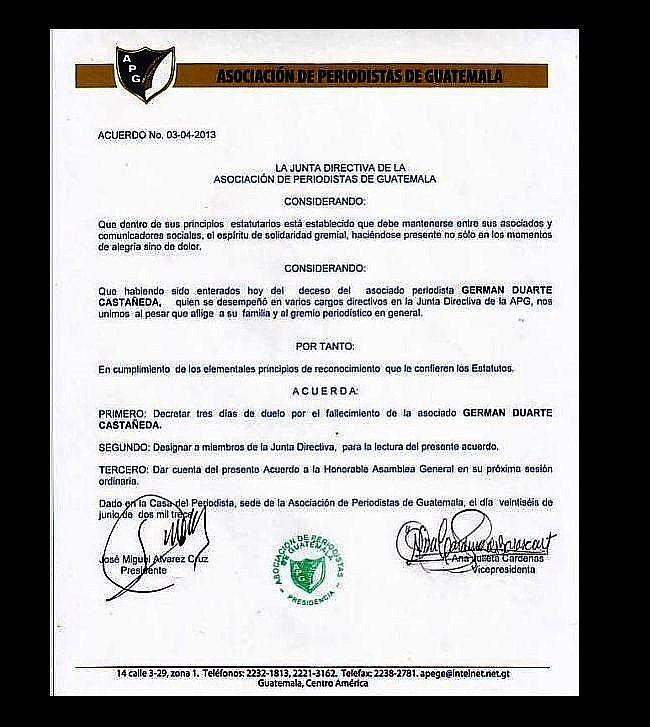 Acuerdo de Pésame - APG -Germán Duarte Castañeda