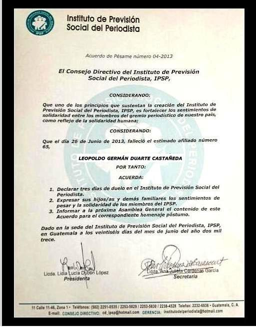 Acuerdo de pésame Germán Duarte Catañeda  IPSP --