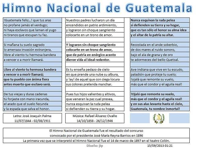 Letra del Himno Nacional  de Guatemala. u . JPG