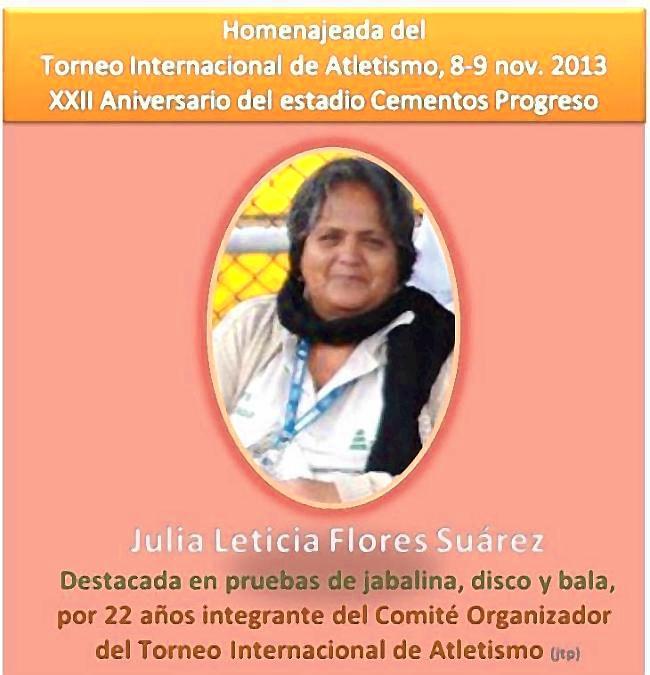 Julia Leticia Flores Suárez -homenajeada  - - 2013 TIA-ECP