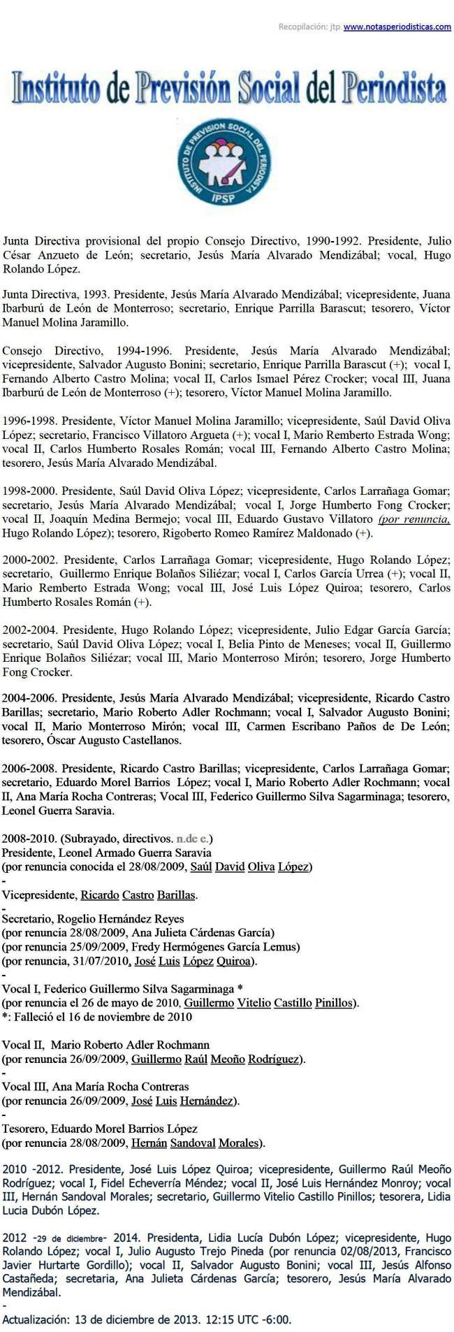 Consejo Directivo -1990-2014 -- u -- -nómina de integrantes -miembros del