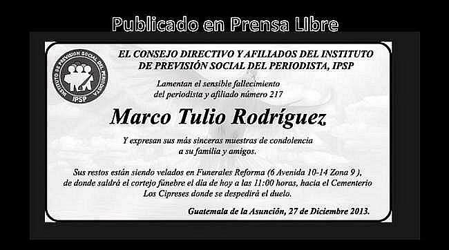 Esquela del IPSP fallecimiento Marco Tulio Rodrígudz López.
