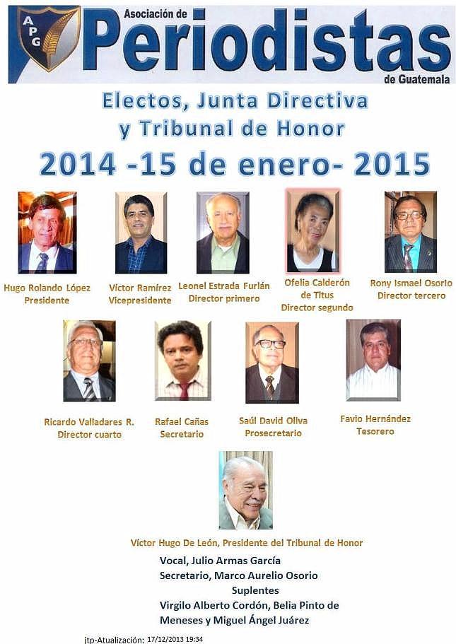 La juramentación de los 9 miembros que  integran la Junta Directiva, y la del Tribunal de Honor -3 titulares y 3 suplentes- está prevista para el 15 de enero de 2014 para período de un año (jtp).