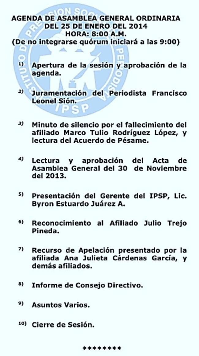 IPSP Agenda 25 de enero de 2014.