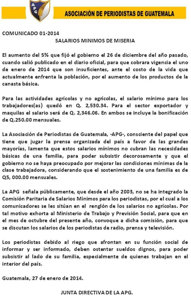 COMUNICADO 01-JD-2014  25012014