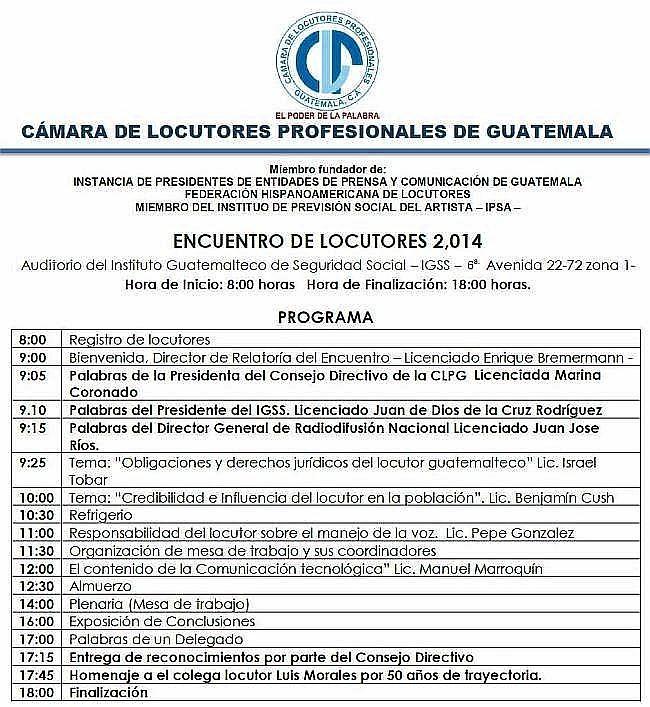 Enuentro nacional de Locutores -1 de mazo de 2014 ciudad de Guatemala CLPG