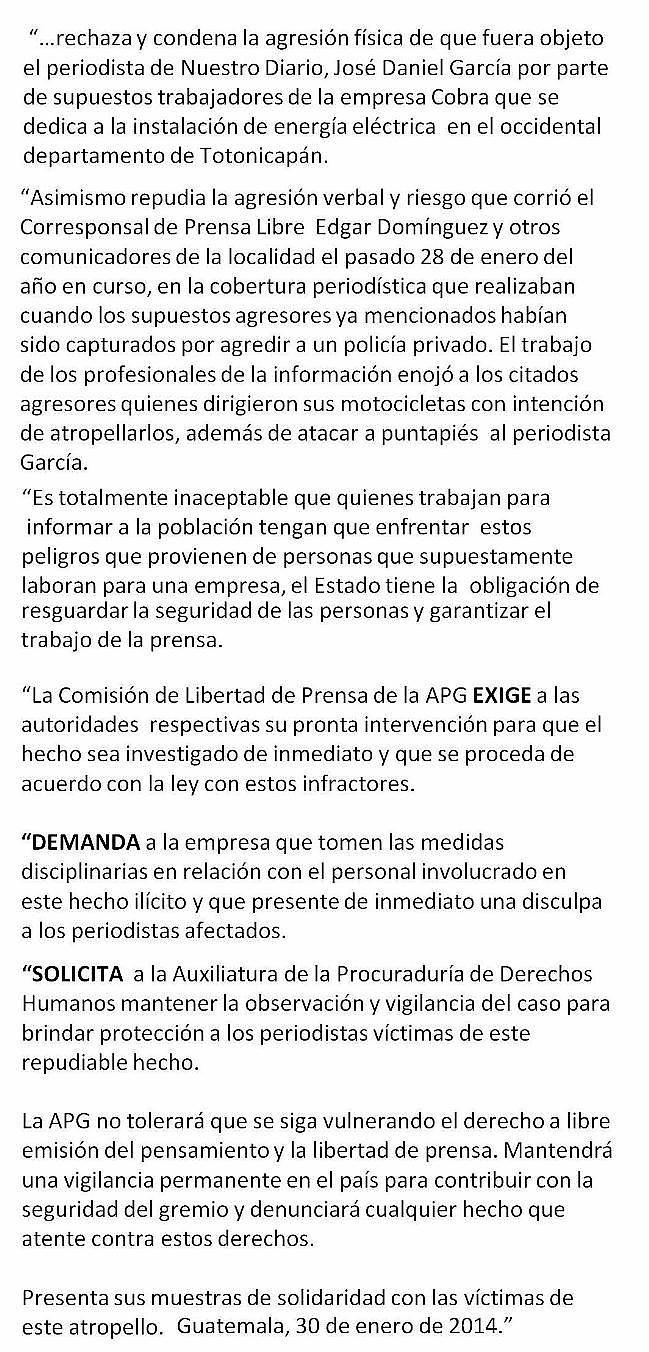 CdLP APG COMUNICADO  1-14