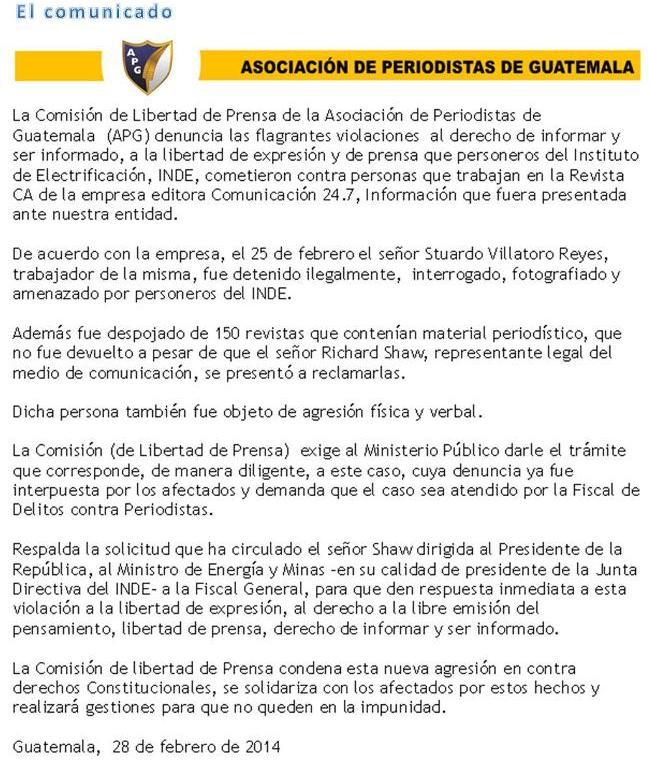 APG - CLP COMUNICADO  U O8-2014