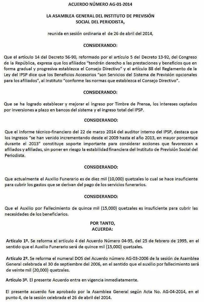 IPSP -ACUERDO AG-01-2014 -