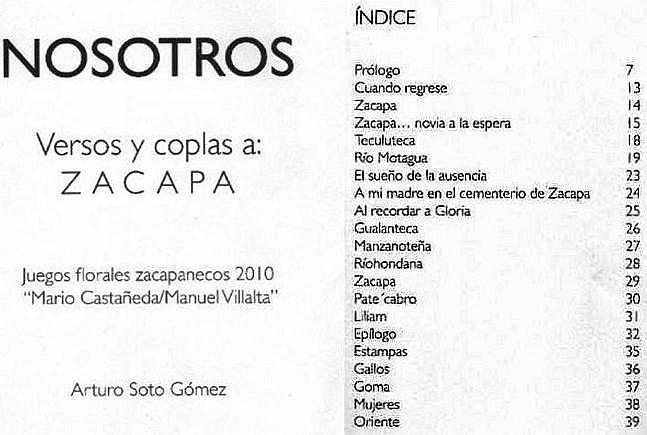 NOSOTOS -de Arturo Soto Gómez -libro - Versos y coplas a ZACAPA