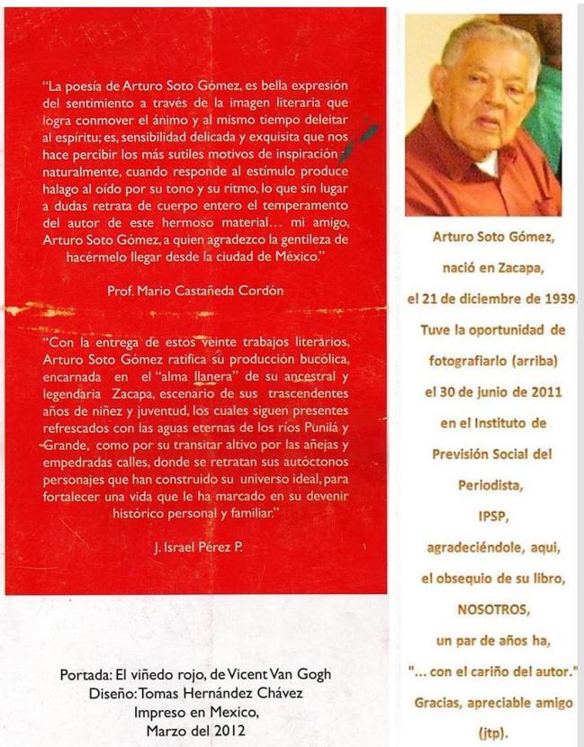 NOSOTROS - Contra carátula - libro del escrior guatemalteco, Arturo Soto Gómez.