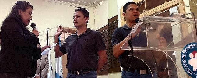 Lucía Dubón juramenta a Alex Maldonado quien, izquierda, agadece su elección (Ftos, por jtp 26/04/2014).