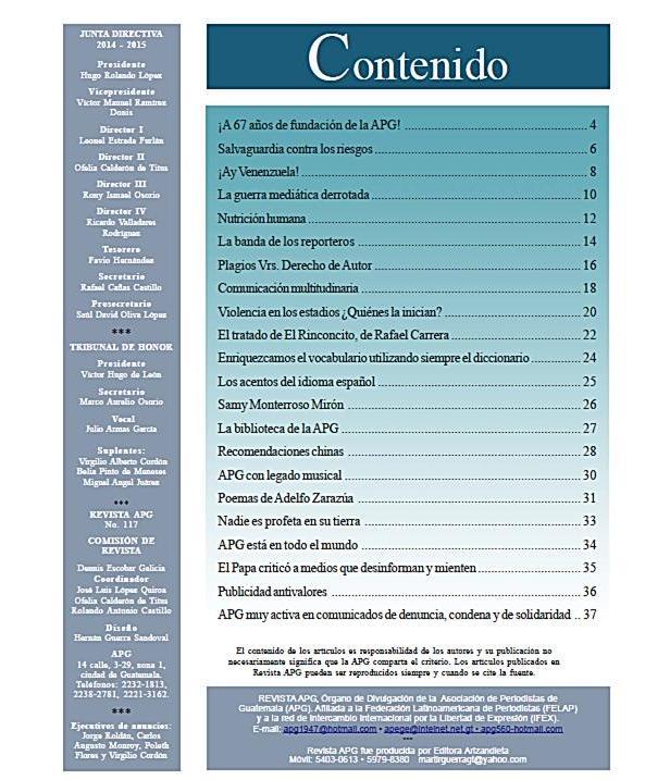 REVISTA APG 117 CONTENIDO  U