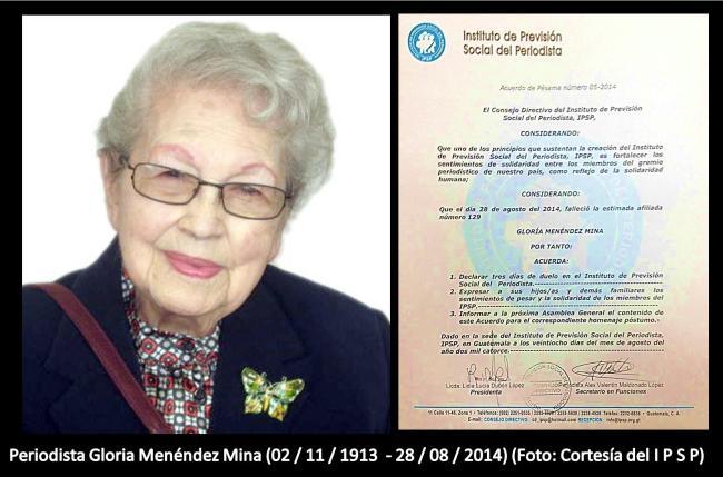 Gloria Menendez Mina DEP deceso 28-ago - - -2014