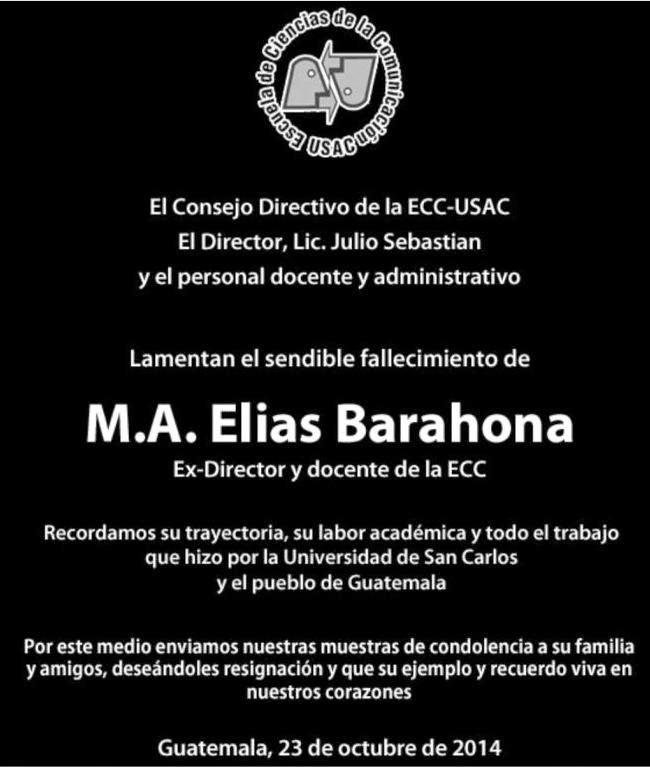 ELIAS BARAHONA Y BARAHONA ecc