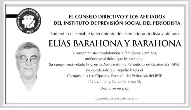 ELIAS BARAHONA Y BARAHONA ipsp u