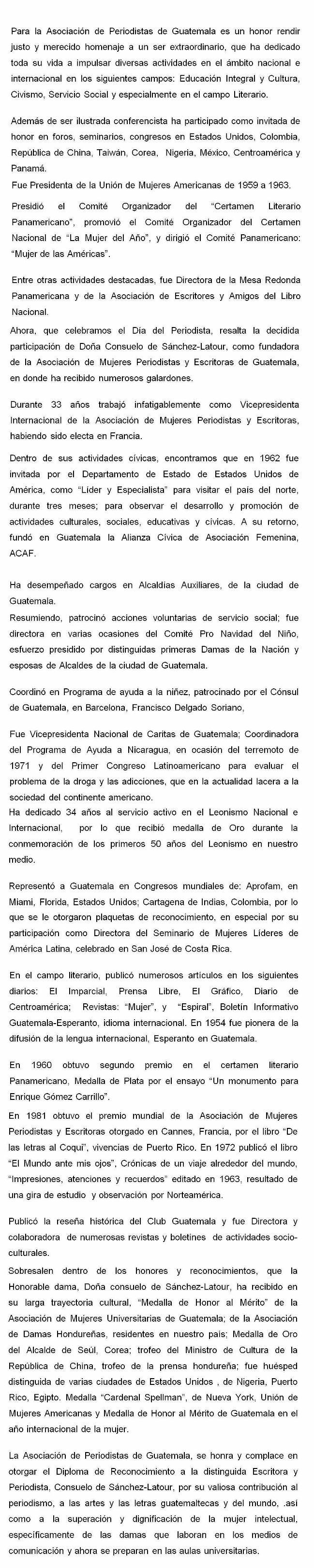 CONY DE SANCHEZ LATOUR HISTORIAL - -