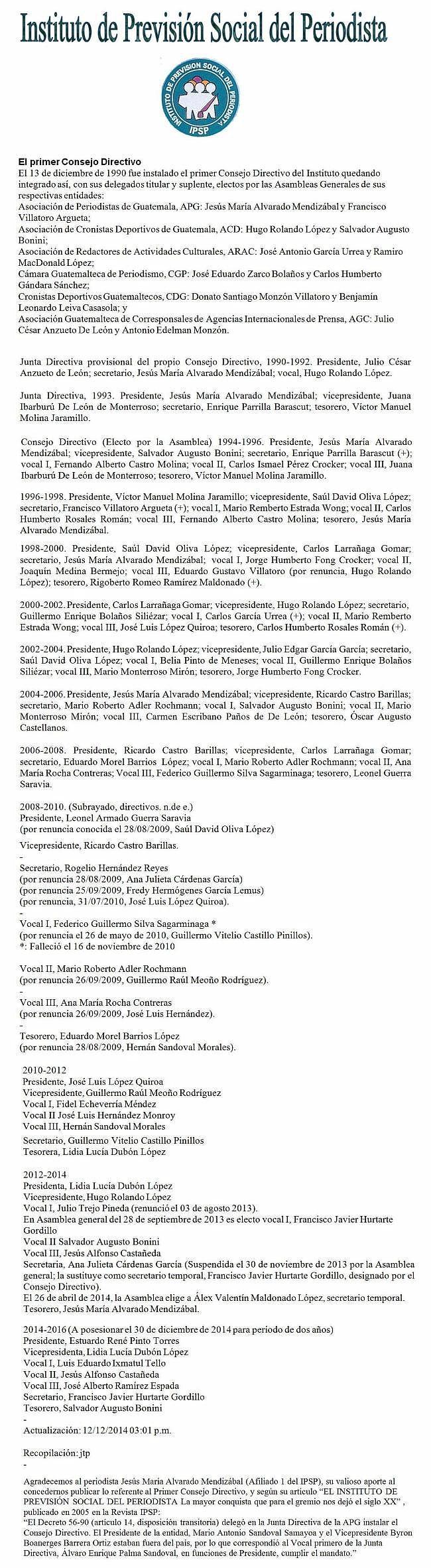 Consejo Directivo 1990 a 2016 - - -