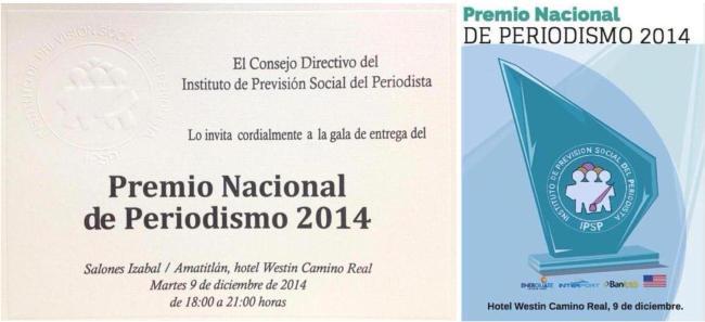 invitación y trofeo premio nacional de periodismo 2014 IPSP 2