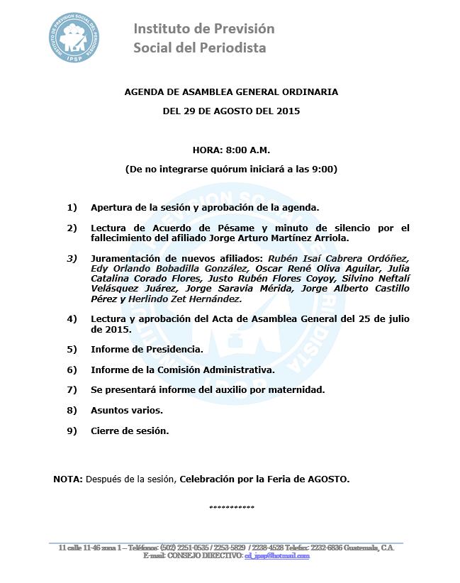AGENDA ASAMBLEA GO IPSP 29 agosto 2015