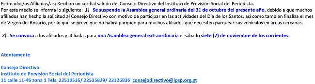 SUSPENDIDA ASAMBLEA IPSP OCTUBRE 2015