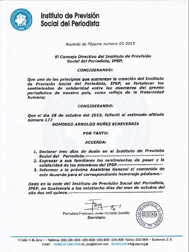 pesame 05 2015 Domingo A. Nuñez
