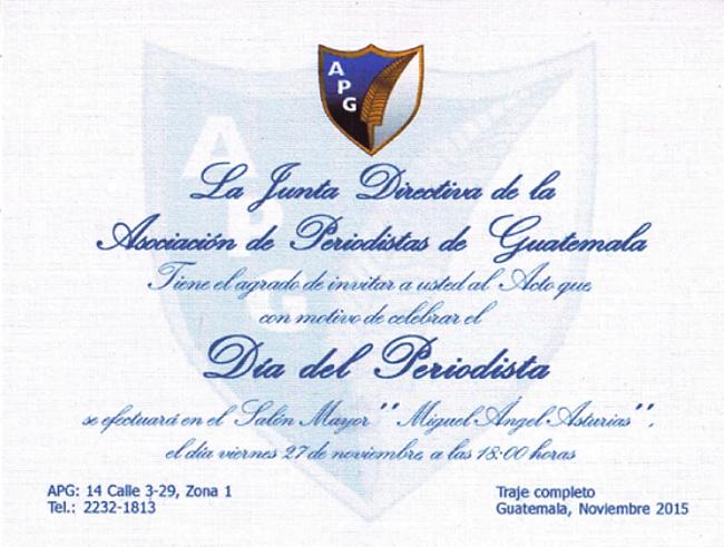 APGH - -INVITACIÓN DIA DEL PERIODISTA 2015