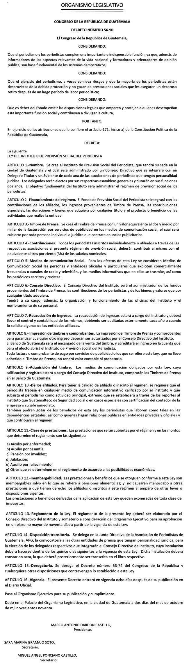 Decreto 56-90 - - - COMPLETO - DCA 22 11 1990