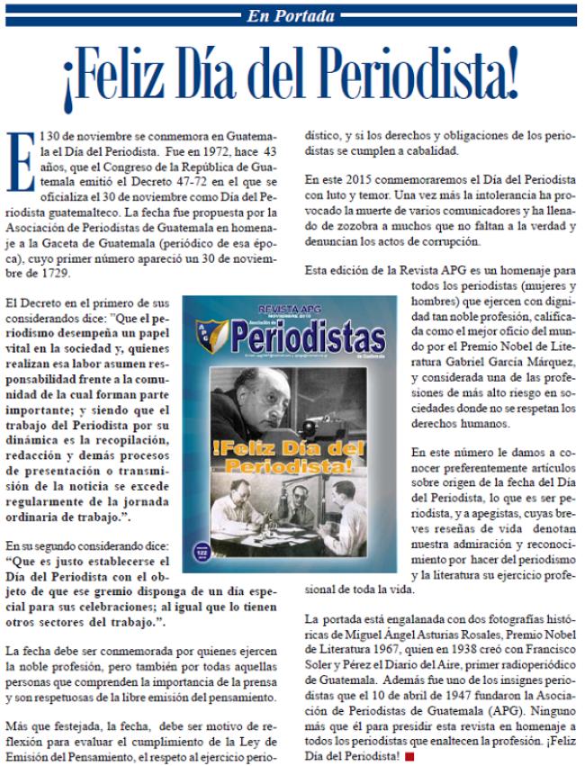 EDTORIAL -FELIZ DIA DEL PERIODISTA --2015