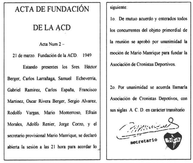 Acta de fundación de la ACD - con firma de M Manrique q.e.p.d