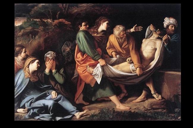 Viernes santo, al caer la tarde, Jesús es sepultado.