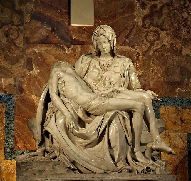 Sábado santo. Es la conmemoración de Jesús en el sepulcro y su Descenso al Abismo. Aquí, La Piedad.