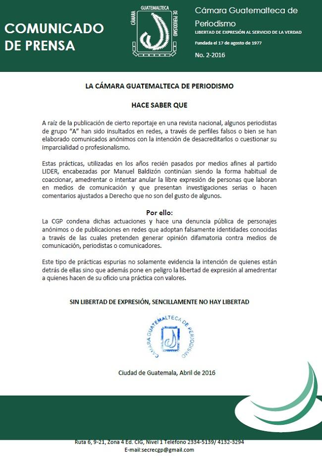 CÁMARA G P CGP COMUNICADO No. 2 ABRIL2016