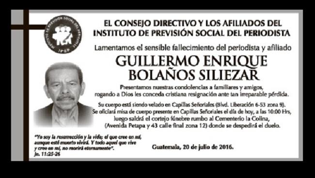 Obitua0rio, Prensa Libre, 20/07/2016