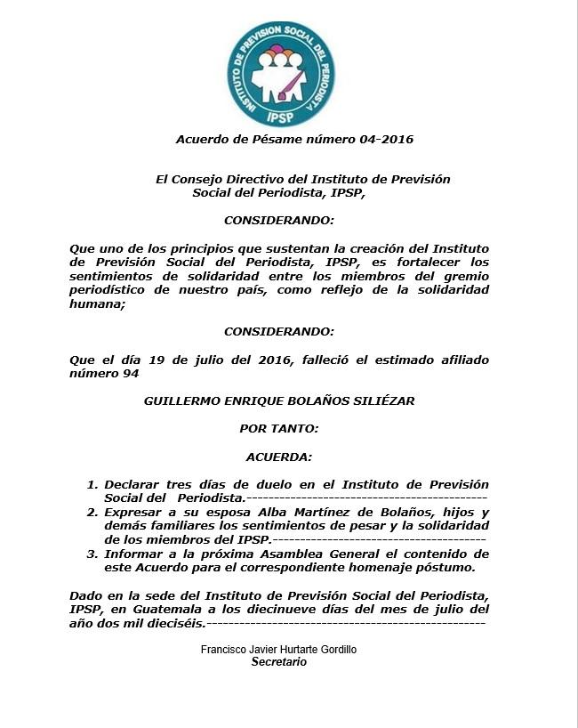 IPSP ACRRDO P´SAME 4-2016 19072016 GUILLERMO BOLAÑOS