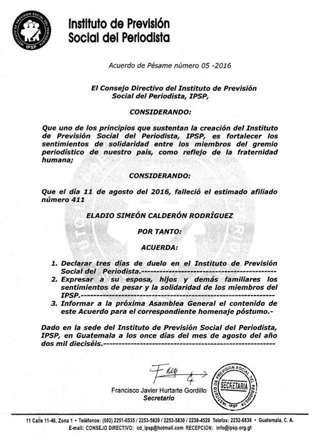 IPSP ACERDO DE PESAME 05-2016 ELADIO CALDERÓN 11082016+