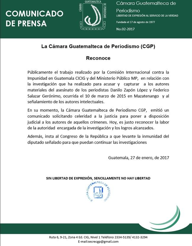 Comunicado de apoyo a MP y la CICIG 27-01-2017