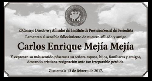 CARTLOS MEJIA MEJIA -ESQUELA DEL IPSP PL 132017