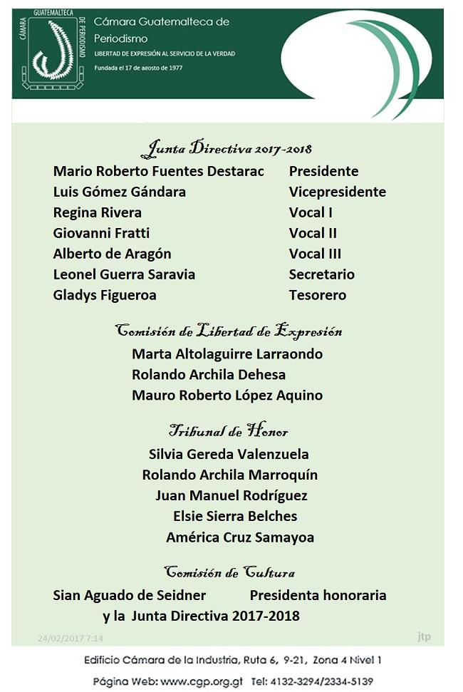 CGP JUNTA DIRECTIVA 2017 - 22 de febrero - 2018 y otros electos