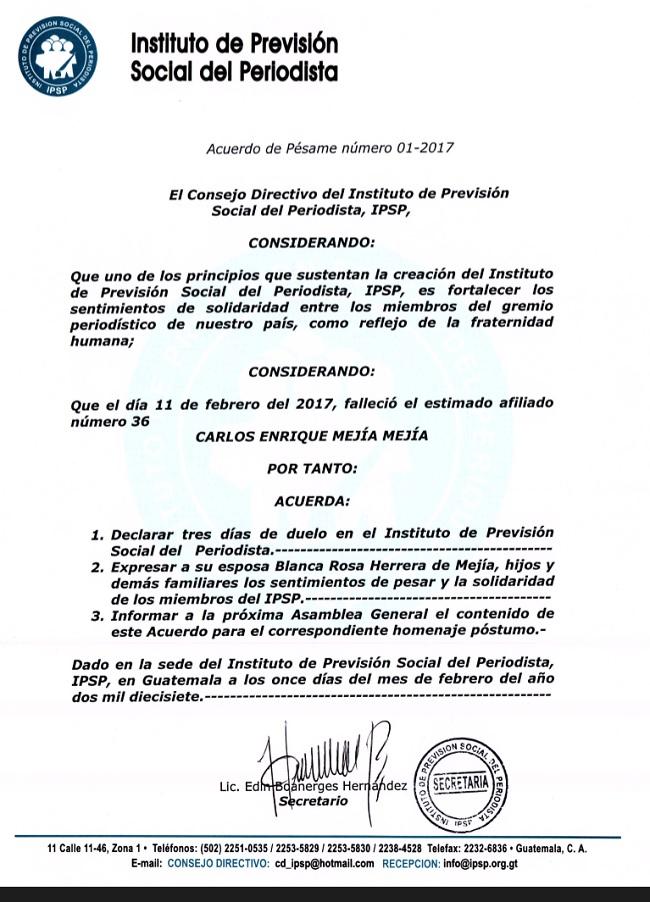 IPSP ACUERDO DE PÉSAME No.1 CARLOS MEJÍA MEJÍA 11022017+
