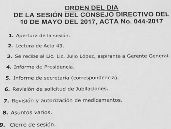 ORDEN DEL DÍA CD IPSP 10-05-2017